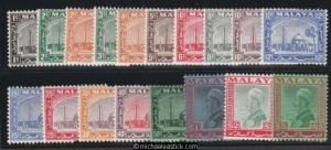 1935 Malaya Selangor 1c - $5 set of 18, SG 68 - 85, MH