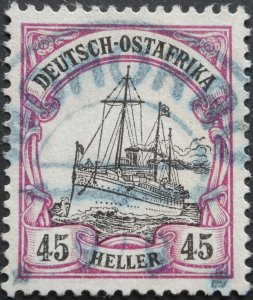 German East Africa 1905 Forty Five Heller with MOHORRO in blue postmark