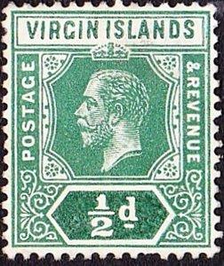 BRITISH VIRGIN ISLANDS 1913 KGV 1/2d Green SG69 MH