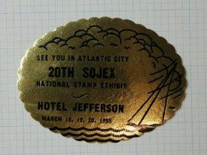 20th SOJEX Natl Stamp Expo Atlantic City NJ 1955 Souvenir Label Ad