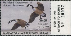 MARYLAND #12 1985 STATE DUCK STAMP CANADA GEESE  by David Turnbaugh