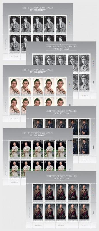 H01 Guernsey 2018 HRH The Prince of Wales 70 Sheetlet Set  MNH Postfrisch