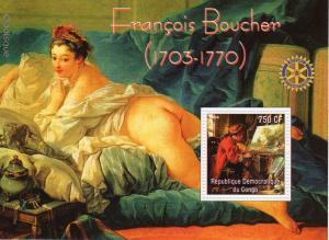 Congo 2004 Francois BOUCHER (Odalisque) Famous Paintings/Rotary Club S/S MNH (1)