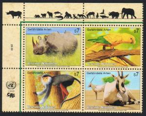 UN Vienna Birds Rhinoceros Parrot Monkey Oryx 4v Block of 4v 1995 MNH