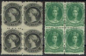 NOVA SCOTIA 1860 QV 1C AND 8½C BLOCKS YELLOWISH PAPER