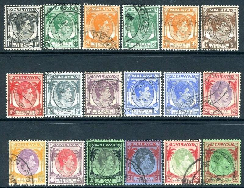 STRAITS SETTLEMENTS-1937-41 Set to $5 Sg 278-298 GOOD USED V18756
