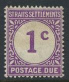 Straits Settlements George V Postage Due  SG D1 Mounted Mint