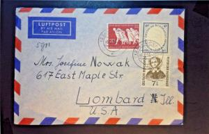 Germany 1955 AIrmail Cover w/ Some Better (I) - Z1291