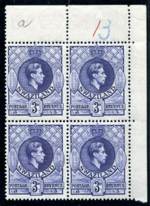 Swaziland 1938 KGVI 3d deep blue block of four superb MNH. SG 32a.