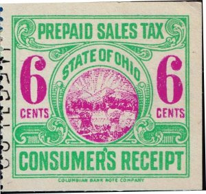 US TAX STAMP STATE OHIO 6C PREPAID SALES TAX PAID STAMP
