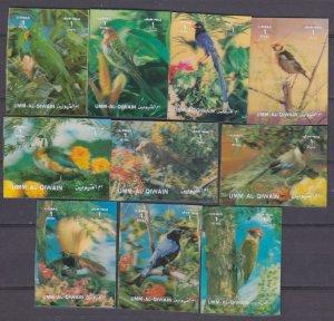 Umm Al Qiwain MNH 1589-98 Birds 3D 1972  MUST SEE!!!!