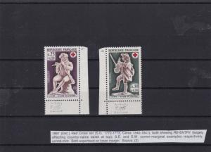 france 1967 mnh red cross re-entry stamps ref 6948
