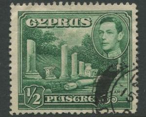 Cyprus - Scott 144 - KGVI Pictorial Definitive - 1938 - FU - Single 1/2pi Stamp