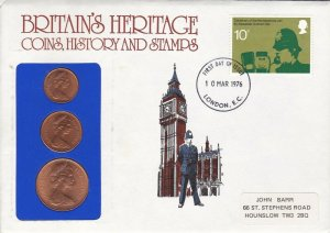 GBP124) FDC PNC GB 1976, Britain's Heritage, Coins, History & Stamps, 10/3/76