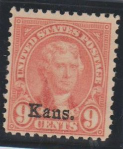 U.S. Scott #667 Jefferson - Kansas Overprint Stamp - Mint NH Single