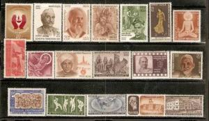 India 1971 Year Set/Pack of 18 Stamps - Cyrus The Great Cricket RN Tagore Fil...