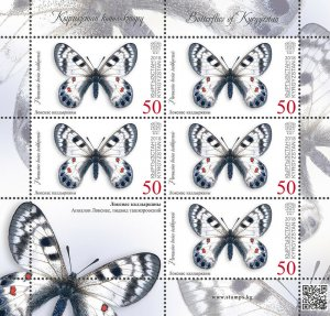 Stamps of Kyrgyzstan 2018 - Butterflies of Kyrgyzstan.Minisheet.  103L. Loxias A
