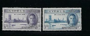 CYPRUS SCOTT #156-157 1946 PEACE ISSUE MINT XXXLIGHT HINGED