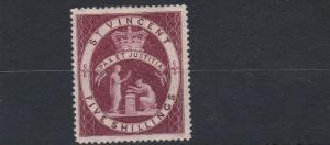 ST VINCENT  1888    S G 53  5/- LAKE    MH