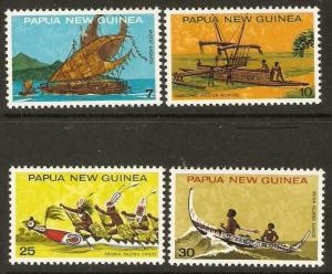 PAPUA NEW GUINEA SG277/80 1975 NATIONAL HERITAGE CANOES MNH