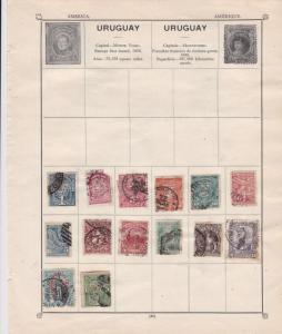 Uruguay & Venezuela Stamps on Album Page ref  R 18861