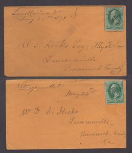 **US 19th Century Covers Scott #136, San Marino, VA, DPO, Lot of 2 Covers