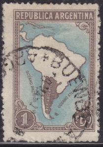 Argentina 446 USED 1937 Map of South America
