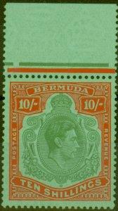 Bermuda 1951 10s Green & Vermilion-Green SG119e V.F MNH