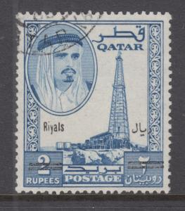 Qatar Sc 108H used. 1966 2r black surcharge on 2r blue Oil Well and Sheik