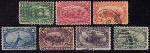 US Scott #285-291 Trans-Mississippi Used Short Set Cat. $360.00 F-VF