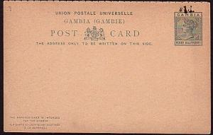 GAMBIA QV 1d opt on 1½d postcard with reply card attached - unused.........32198