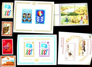 UNITED NATIONS #213,216,219,260,262,324,449,469-472 SET OF 11 STAMPS MNH