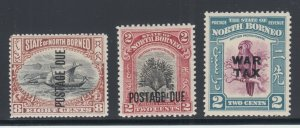 North Borneo Sc J16,J41,MR2, MLH/MNH. 1901-41 Back of Book issues, 3 different