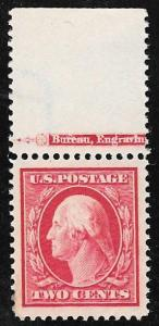 375 2 cents Washington, Jumbo Carmine Stamp mint OG NH EGRADED XF 90 XXF & PF C