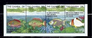 Gambia 1622 MNH 1995 Fish strip of 5