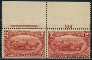 #286 VF OG NH WITH TOP PLATE NO. 619 & IMPRINT PAIR CV $160