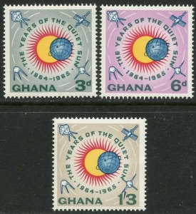 GHANA Sc#186-188 1964 Quiet Sun Year with Satellites Changed Colors OG Mint NH