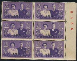 S.W. Africa  Scott#157b, SG#135A 2d Royal Visit KGVI Mint NH OG Plate block of 6