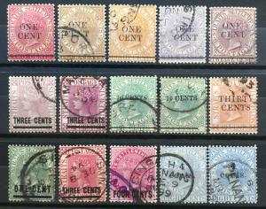 Malaya Straits Settlements 1885-99 QV 15V opt Used & Mint with Shades M2179