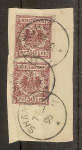 German PO's in China 1891 50pf Used Pair on Piece