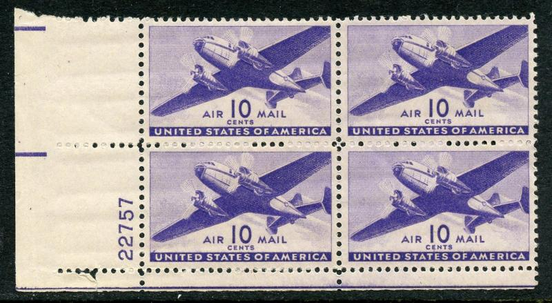 U.S. Scott C27 MNH 10 Cent Transport Airmail Plate Block