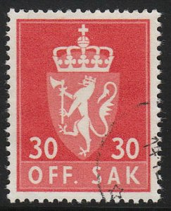Stamp Norway Official Sc O070 1955 Dienst Coat Arms Used