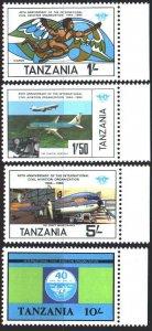 Tanzania. 1984. 246-49. 40 years of ICAO, aviation. MNH.