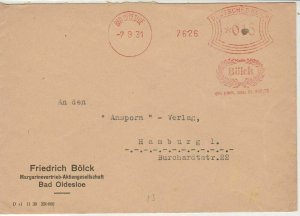 Germany 1931 Bad Oldesloe Cancel BOLCK Wreath Slogan Stamps Cover ref R 19312