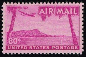 US STAMP BOB #C46 – 1952 80c Airmail Diamond Head MNH/OG XFS SUPERB