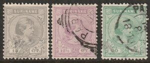 Suriname 1892 Sc 26-8 used with faults