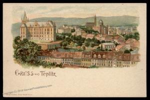 Judaica Synagogue Czech Gruss aus Teplitz  PPC Jewish Temple 90151