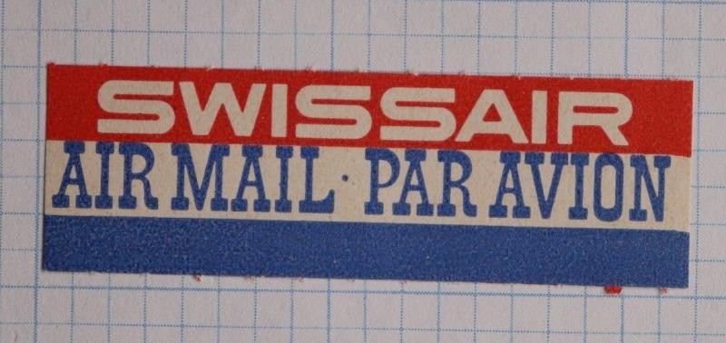 Via Airmail Etiquette Label seal ad SWISSAIR airline par avion Mint MNH OG stamp