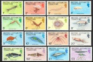 British Antarctic Territory 102-116, MNH. Fish, Crabs, Scrims, Jellyfish, 1984