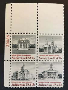 Scott # 1779-82 American Architecture, MNH Plate Block of 4
